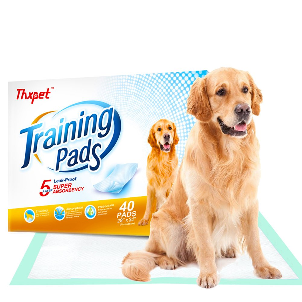 Thxpet Pet Puppy Training Pads 40 Count 28''x34'' Dog Pee Potty Pad Wee Wee Pad Super Absorbent Leak Proof