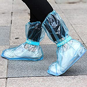 1Pair Portable Waterproof Anti-Slip Reusable Rain Shoe Covers Overshoes Rain Boots Cover Rain Gear Raincoats Accessories, Brown, Small