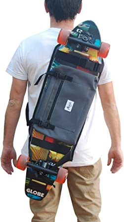 Gray. Backpack for Carrying The Complete Longboard or Surf Skate Great Gift Idea Skateboard
