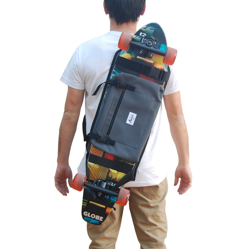 Backpack for Carrying The Complete Longboard, Skateboard, or Surf Skate, Great Gift Idea. Gray.