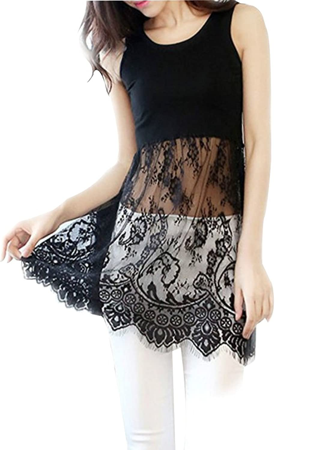 1128f262710 Women s lace trimmed long tank dress   top extender. Elegant see through lace  trim tank top dress for casual wear. It s long enough that you can wear it  as ...