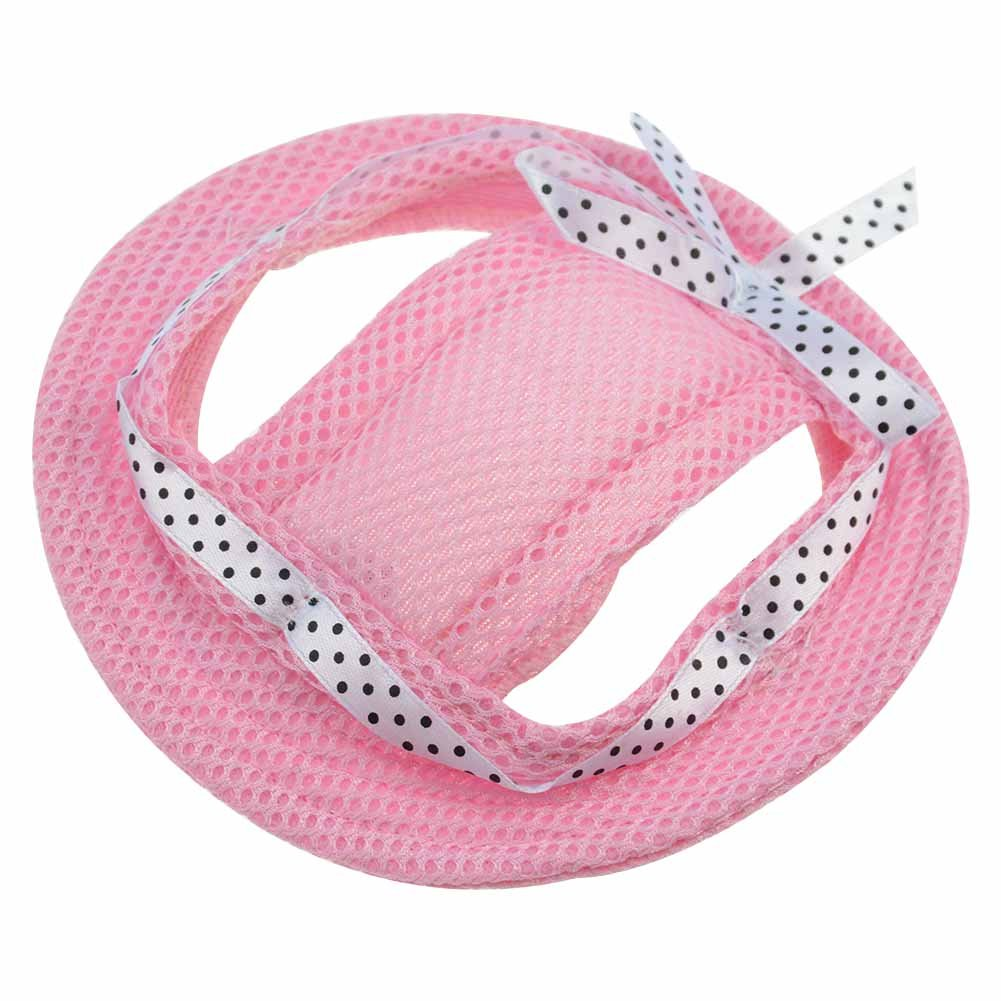 BUYITNOW Round Brim Dog Hat Mesh Sun Protection Cap with Ear Holes, Adjustable for Puppy Cat