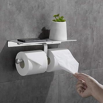 acero inoxidable 304 Acelink autoadhesivo Soporte para papel higi/énico con estante montado en la pared sin perforar
