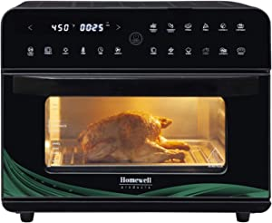 Homewell XL Large Air Fryer Oven 26QT Capacity 1800W Electric Hot Oven Oil-less Cooker with LED Touch Digital Screen, 12 Cooking Functions, Recipe book, Nonstick Basket, Baking Pan, Oven Rack, in Black