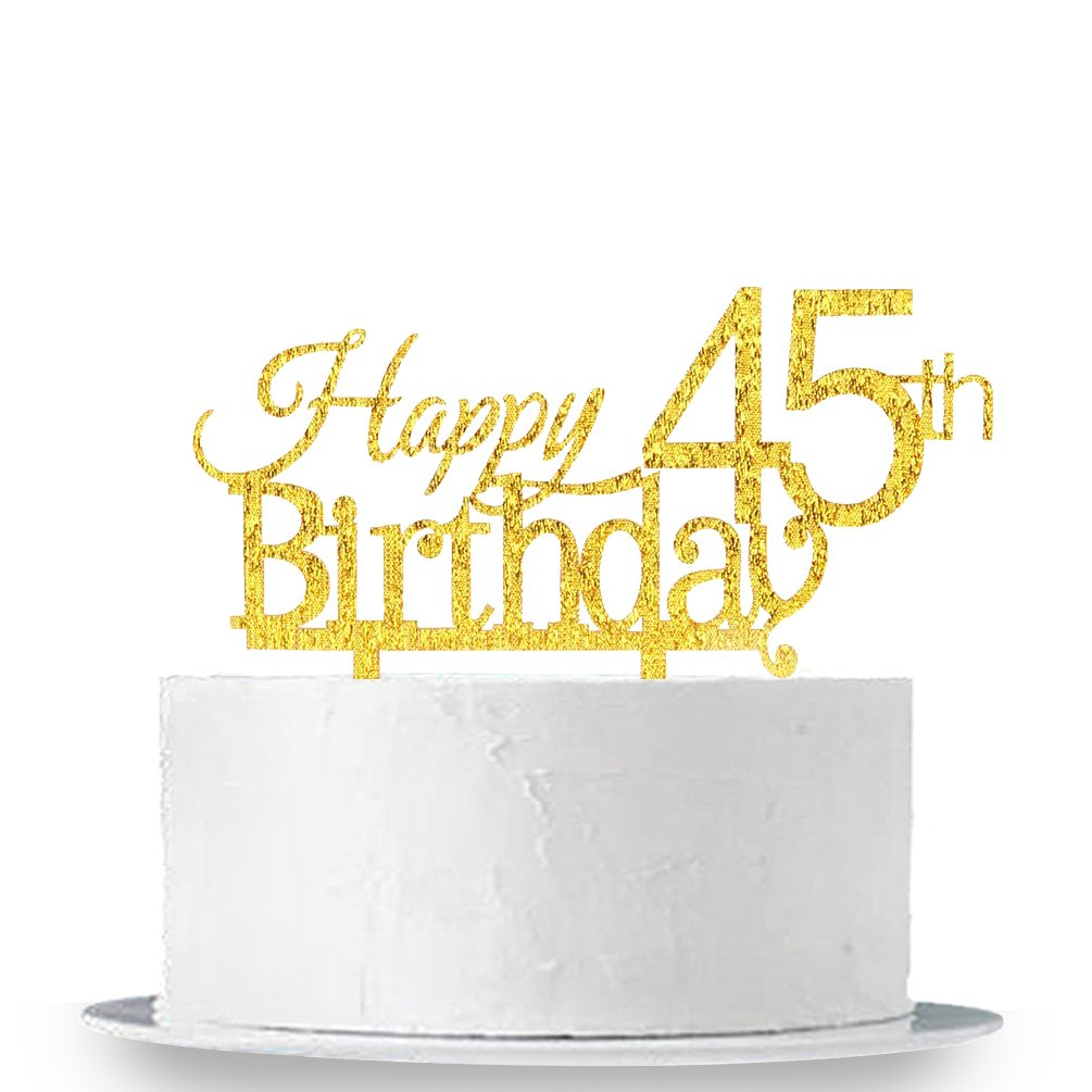 INNORU® Happy 45th Birthday Cake Topper - 45 Anniversary Birthday Gold Glitter Party Cake Decoration