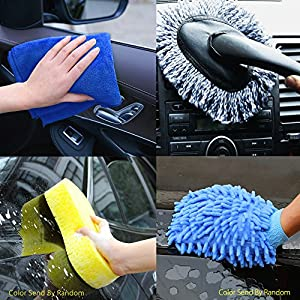 AIJING Car Washing Hose Set Garden Hose Expandable Lawn Plant Flexible Hose 7 in 1 Full 50FT with Spray Nozzle+Car Wash Sponge Pad+Hook+Glove+Washing Brush for Easy Home Storage from AIJING