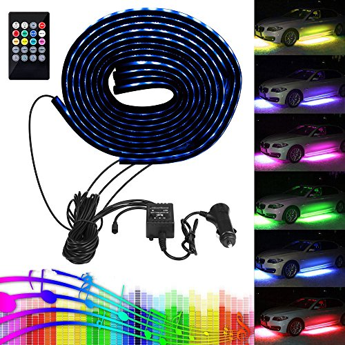 Halo Black Neon Projector (Car LED Strip Light, Lahoku SMD 5050 RGB Multicolor 12V 84 LEDs Waterproof Music Car Underbody Lights Kit with RF Wireless Remote Control and Sound Active Function)