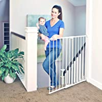 """Toddleroo by North States 47.85"""" wide Tall Easy Swing & Lock Gate: Ideal for standard stairways. Hardware mount. Fits…"""