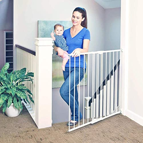 Toddleroo by North States 47.85 wide Tall Easy Swing Lock Gate Ideal for standard stairways. Hardware mount. Fits openings 28.68 – 47.85 wide 36 Tall, Soft White