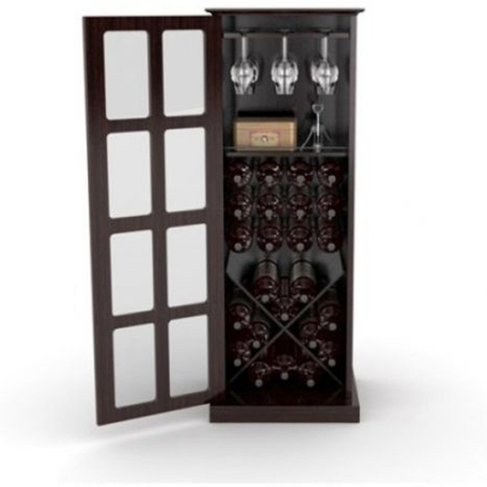 Kissemoj Wood Bar Wine Rack Glass Liquor Cabinet with 24 Bottle Holder and Glass Storage