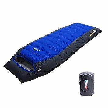 LMR Sacos de dormir rectangulares Al aire libre Ultraligero rectangular abajo saco de dormir para Camping con bolsa de compresión (Azul): Amazon.es: ...