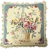 Deluxe Pillows Blue Framed Flower Basket - 22 x 22 in. needlepoint pillow