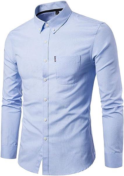LEEDY Camisa de Manga Larga para Hombre con Bolsillo Formal Slim Fit Slim Manga Larga Camisa Casual sólida Blusa Blusa: Amazon.es: Ropa y accesorios