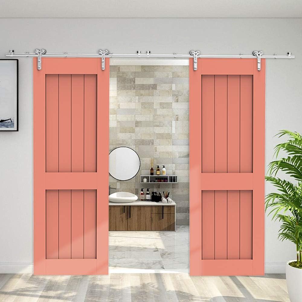 213cm/7FT kit de puerta corredera de acero inoxidable,Herrajes para puertas corredizas de acero inoxidable para puertas de vidrio/madera: Amazon.es: Bricolaje y herramientas