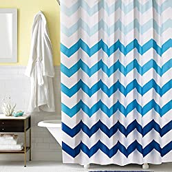 Ufaitheart Modern Design Fabric Shower Curtain Chevron, 36 x 72 Inch Shower Curtain Stall Size Bathroom Curtain, Navy, Blue, White