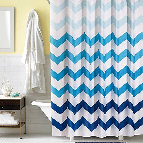 f Fabric Shower Curtain 54 x 72 Inch Stall Shower Curtain Chevron Bathroom Curtains Fabric, Navy, Blue, White ()