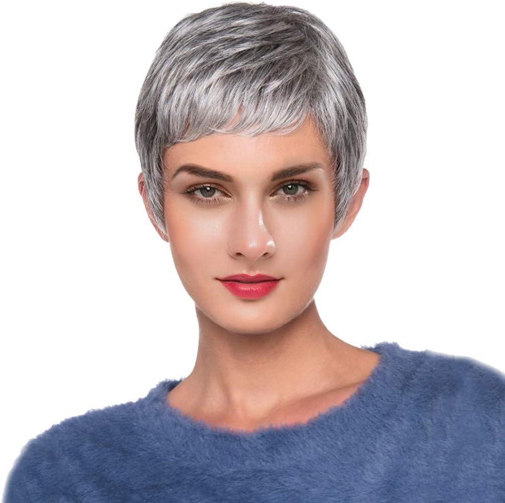 Peluca de pelo humano rizado y corto de color blanco grisáceo ...