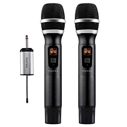 Amazon Hotec 25 Channel UHF Wireless Microphone Dual With Mini Portable Receiver 1 4 Output For Church Home Karaoke Business Meeting