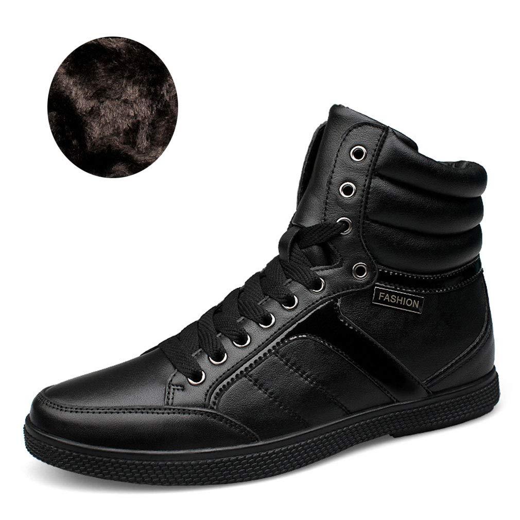 YAN Los Hombres Zapatos De Cuero Transpirable De Alta Top Casual Botas De Moda De Encaje hasta Los Zapatos De Plataforma De Zapatos De Senderismo Zapatos Camino De Carrera,B,37