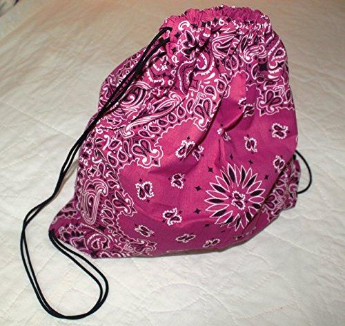 Bandana Drawstring Backpack made with actual Bandanas. Hot Pink.