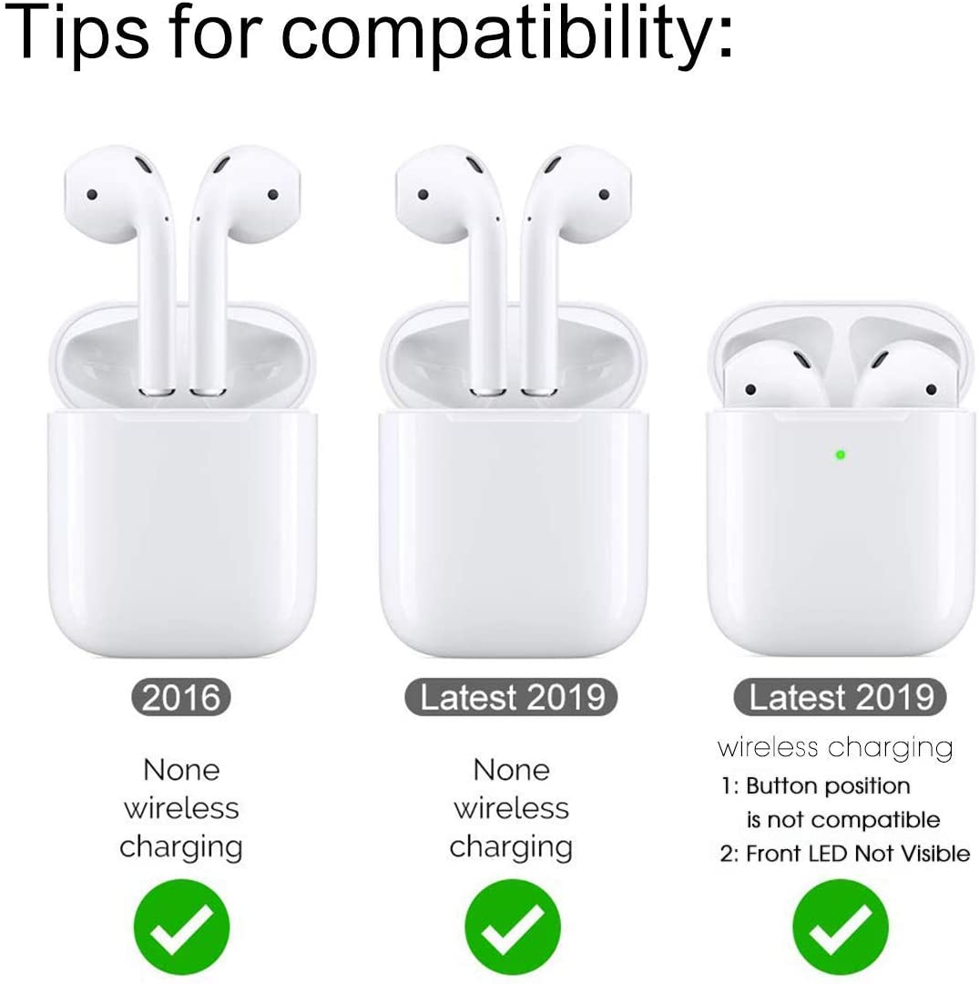 Compatible with AirPods 2 and 1 Foxes Shockproof Soft TPU Gel Case Cover with Keychain Carabiner for Apple AirPods