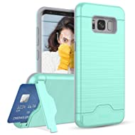 Galaxy S8 Case, Teelevo [Card Slot Holder] Dual Layer Heavy Duty Shock Absorbent Wallet Case with Credit Card Slot and Kickstand [Protective Card Case] for Samsung Galaxy S8 (2017) - Mint Green