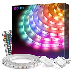 Led Strip Lights, Govee 16.4Ft Waterproof RGB Light Strip Kits with Remote for Room, Bedroom, TV, Kitchen, Desk, Color Changing Led Strip SMD5050 with 3M Adhesive and Clips, 12V/1.5A Power Supply
