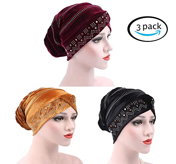 Image Unavailable. Image not available for. Color  Racheljp Chemo Hats  Cancer Headwear Women Velvet Bling Turban Beanie ... 5238efc83389