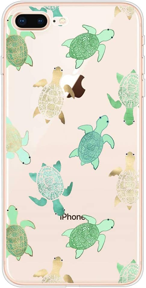 """iPhone 7 Plus Case, iPhone 8 Plus Case, Slim Transparent Silicone TPU Protective Cover for 5.5"""" iPhone 8 Plus/iPhone 7 Plus Ultra Thin Flexible Soft Gel Back Skin Cute Lovely Turquoise Sea Turtle"""