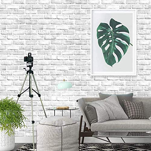 (Brick Peel and Stick Wallpaper Textured,CHANMOL 3D Brick Self-Adhesive Removeable Wallpaper Contact Paper Waterproof for Bedroom Living Room Background Home Decor- 17.6 x 393.6in (White and Grey))