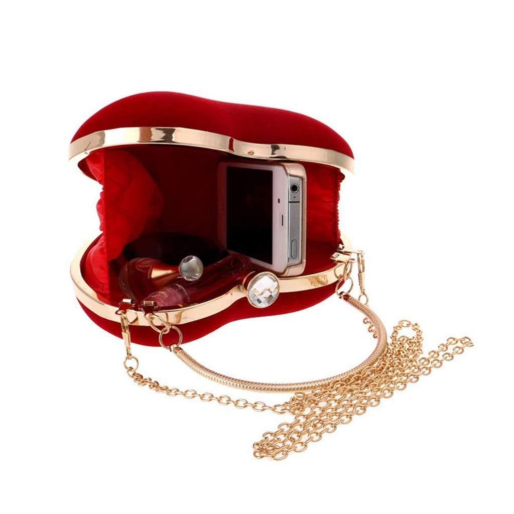 XYZMDJ aftonväska, glänsande axelväska vacker hjärtformad kedja plånbok-kors kropp tote (färg: Röd) röd