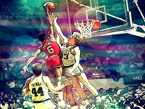 Julius Erving Dunk on Larry Bird Awesome Vintage Retro Painting Pop Art Sixers vs Celtics Dr. J 76ers Basketball 24x18 Poster Print (Vintage Bird Paintings)