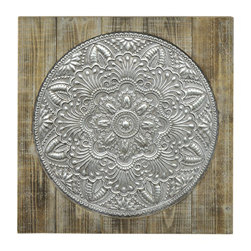 Three Hands Corporation 57524 Three Hands Wood/Metal Wall Art,Brown & Gray (Wood Medallion Wall Art)