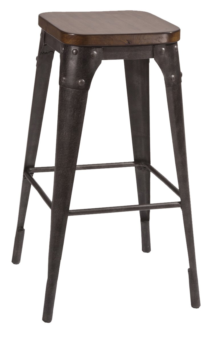 Amazon com hillsdale 5733 828 morris non swivel backless counter stool black pecan kitchen dining