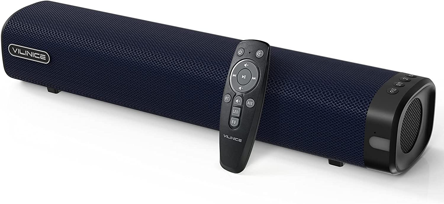VILINICE Soundbar, 50W Small Sound Bar for TV with Bluetooth, RCA, USB, Opt, DC, Mini Sound Bar/Audio System for TV Speakers/Home Theater, Gaming, Projectors (Blue)