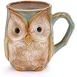 "Burton & Burton 9730074 Mug Owl Coloring Printed on Surface, 4 1/4"" H X 4 3/4"" W X 3 1/2"" D X 2 1/2"" Opening. Holds 12 oz. ,"