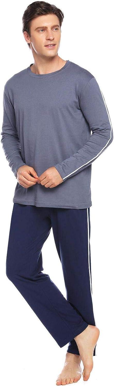 Abollria Mens Pyjamas,Mens Pyjama Set Long Sleeve Top /& Pants Soft Cotton Men Pjs Set Pajamas for Man Nightwear Loungewear