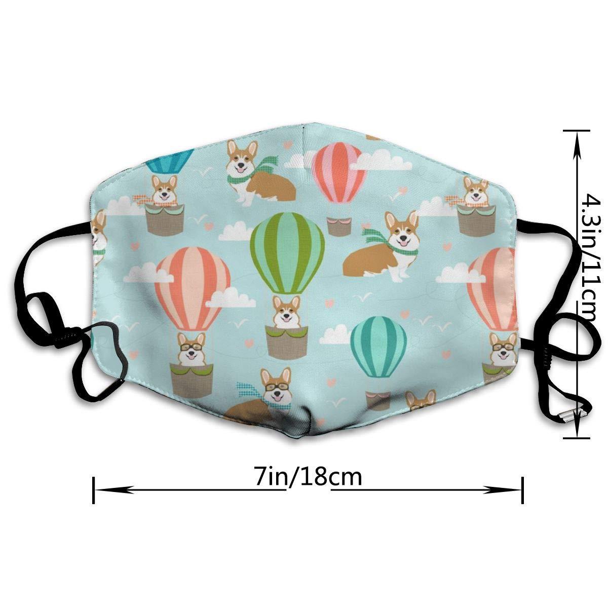 Work Safety Equipment & Gear Corgi Hot Air Balloon Cute Corgis In Hot Air Balloons Anti-dust Cotton Mouth Face Masks Reusable for Outdoor Half Face Masks