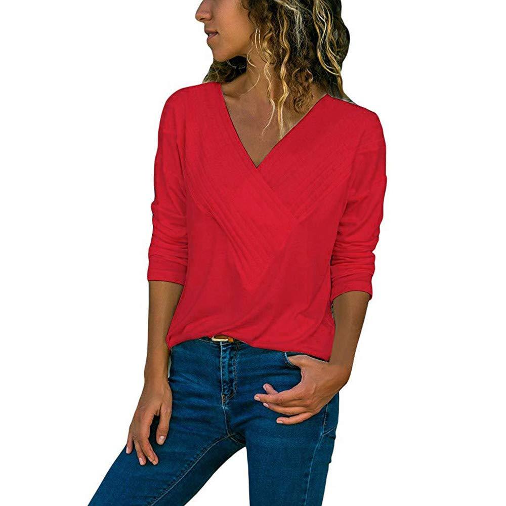 Yvelands Mode Damen Chiffon Solid T-Shirt Büro Damen Plain Roll Ärmel Bluse Tops