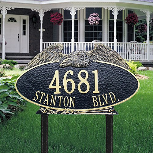 - Whitehall 2 Lines Custom Oval Eagle Estate LAWN Plaque (24 inches Wide by 14 inches High)