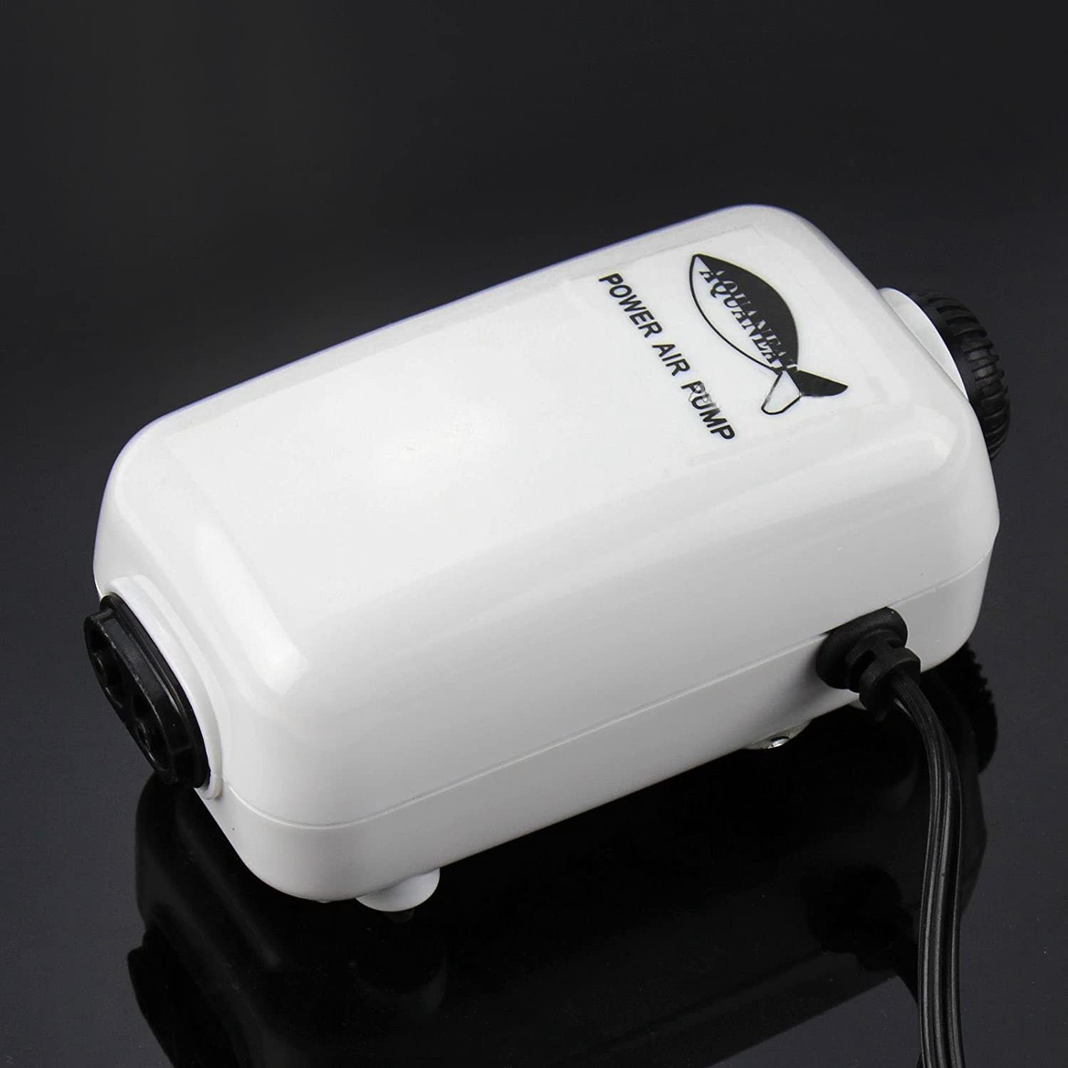 New Aquarium Adjustable Air Pump Two Outlets Fish Tank 65GPH Up to 125Gal by Aquaneat