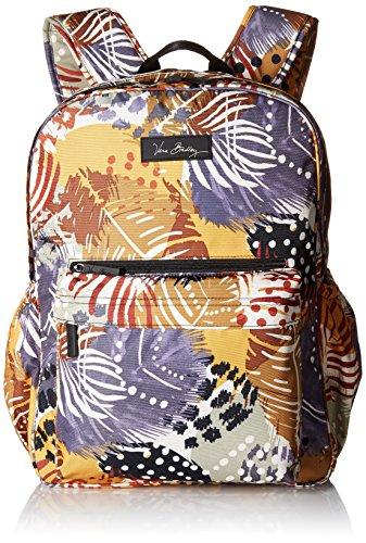 Vera Bradley Lighten Up Grande Laptop Backpack, Painted Feathers, One Size