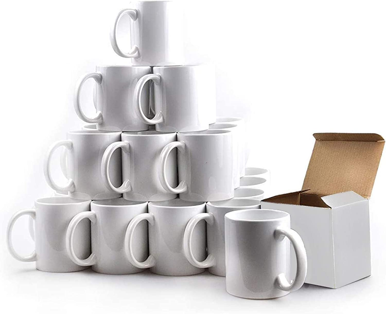 KAPCO 36 tazas de sublimación blancas, 11 oz, prensa de calor con mango pequeño, grado AA: Amazon.es: Hogar