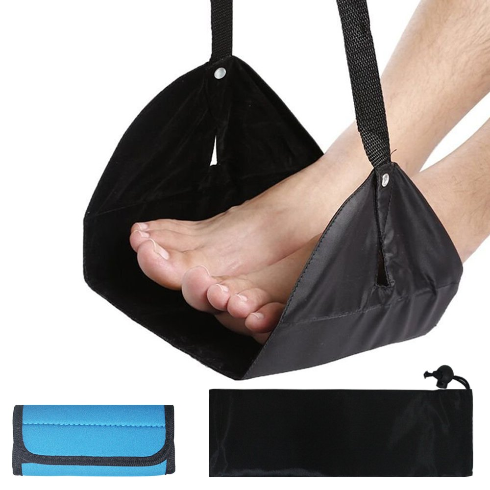 Travel Foot Rest with Luggage Handle Wrap, AFUNTA Adjustable Height Flight Carry-on Footrest Hammock for Airplane Flight Office, with Suitcase Handle Neoprene Grip - Black, Blue