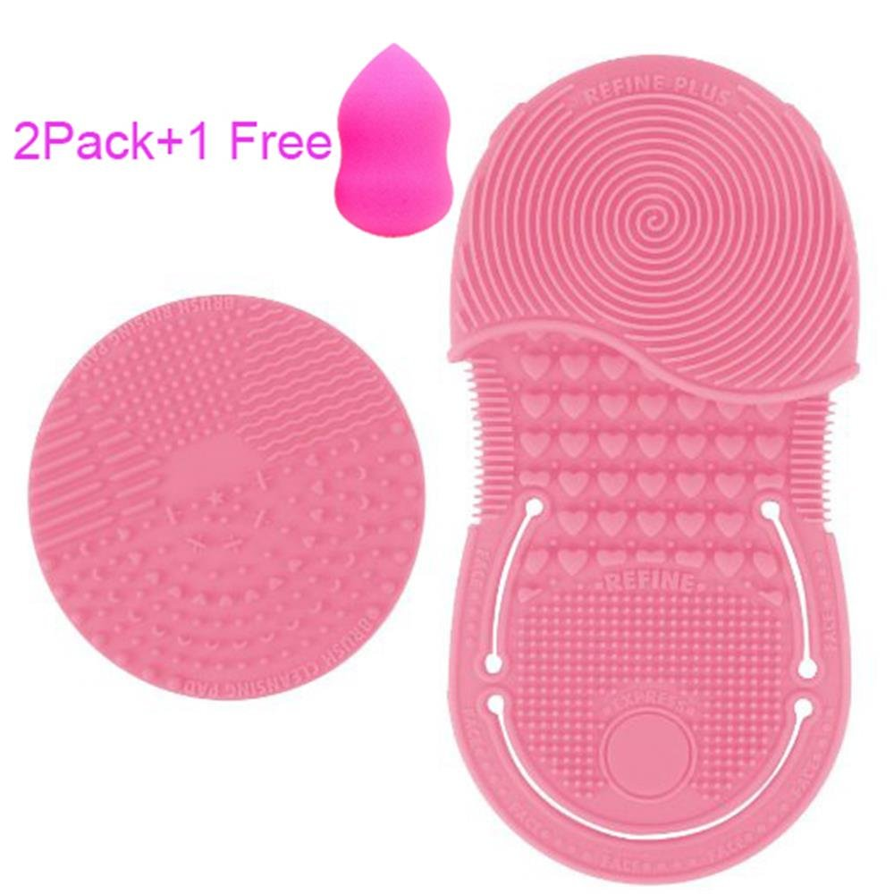 2 Pack Makeup Brush Cleaning Glove Cleaner Pad,Free with A Sponge Puff(Pink)