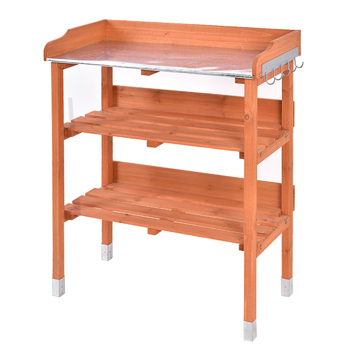 Garden Wooden Potting Bench Tool Storage Shelf W/Hook Table by Allblessings