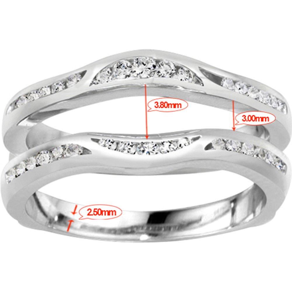 Fancy Classic Style Contour Ring Guard Enhancer Wedding Band with 0.44 cts of Diamonds and Sapphire in Silver by TwoBirch (Image #5)
