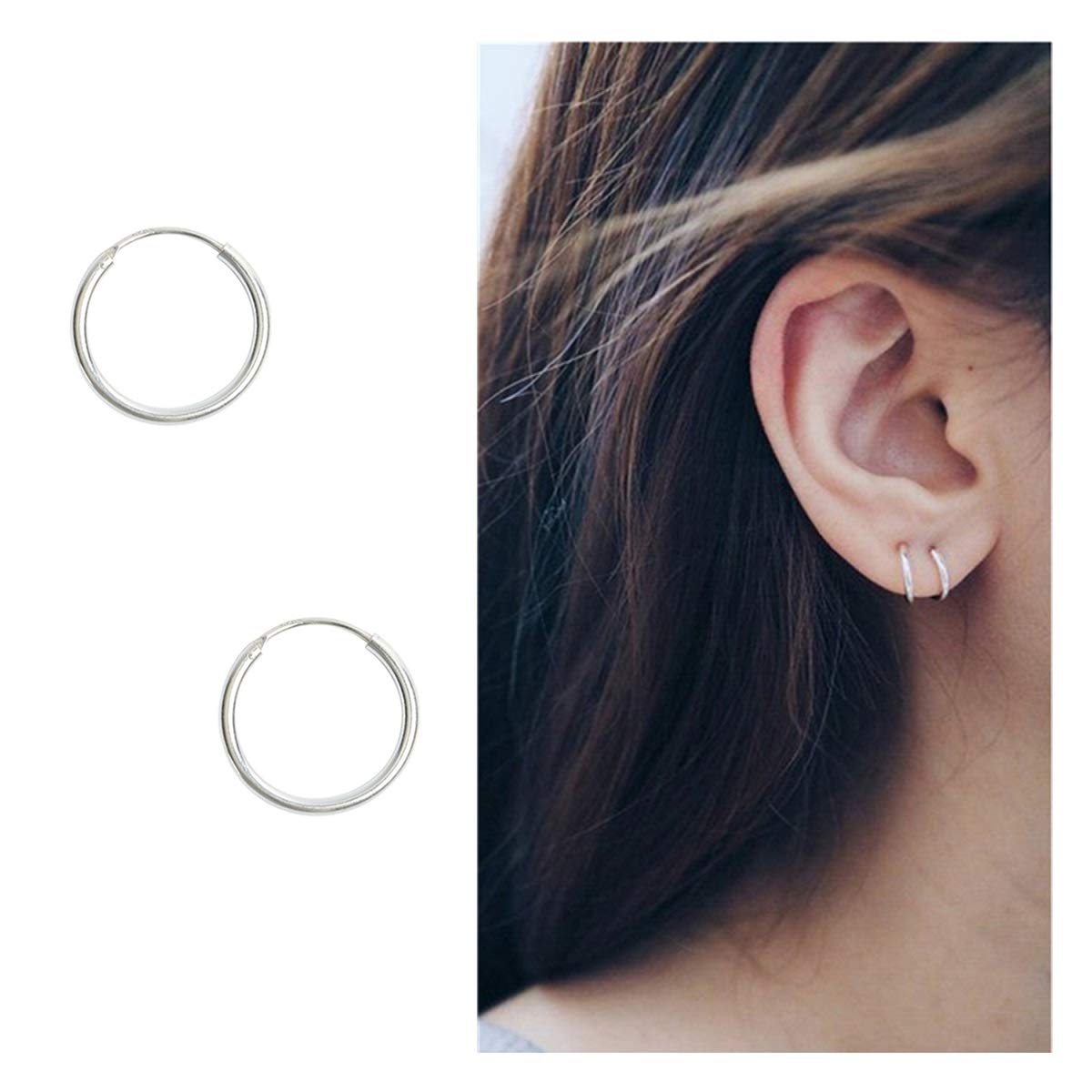 Sterling Silver Hoop Earrings Cartilage Piercing Earring Small Round Set For Women Men Girls