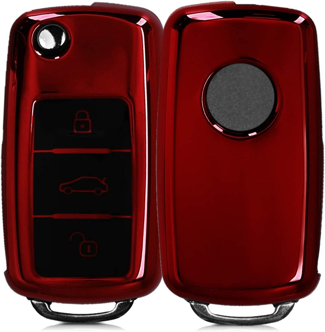 Dark Green kwmobile Car Key Cover Compatible with Ford 3 Button Car Flip Key TPU Silicone Key Fob Cover with Varnished Buttons