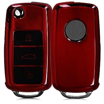 kwmobile Funda para Mando de VW Skoda Seat Rosa Oro Brillante Carcasa con Botones para Llave del Coche Llave de 3 Botones para Coche VW Skoda Seat
